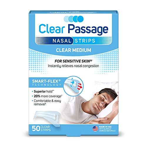 (Clear Passage Nasal Strips Medium, Clear, 50 ct | Works Instantly to Improve Sleep, Reduce Snoring, Relieve Nasal Congestion Due to Colds & Allergies (Medium))