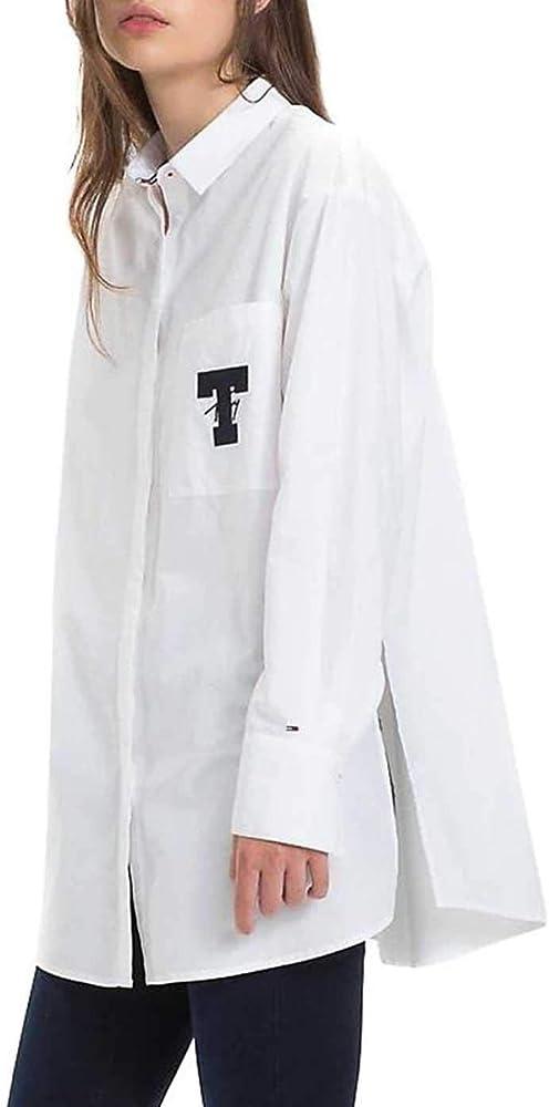 Tommy Jeans Camisa Solid Detail Blanco Mujer S Blanco: Amazon.es: Ropa y accesorios