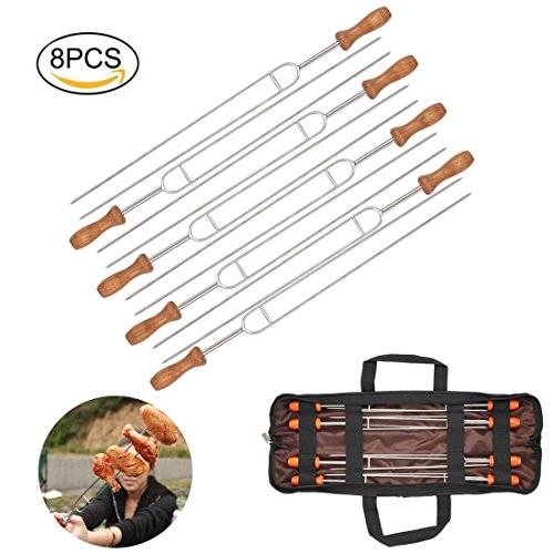 Firlar Marshmallow Roasting Sticks, Set of 8 Wooden Handle Stainless Steel Barbecue Forks Grilling BBQ Skewer Set for Camping Campfire Firepit - 14