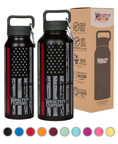 Healthy Human Stainless Steel Insulated Water Bottle Thermos - BPA Free Cap with Hydro Guide & Carabiner Set - Thin Red Line - 21 (Bottle Cap Drink)
