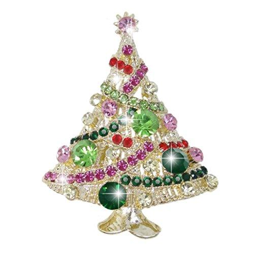 Avon Christmas Tree Pin - EVER FAITH Streamer Star Wishing Tree Brooch Pin Multicolor Austrian Crystal