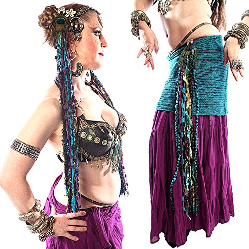 Belly Dance Yarn Falls PARADISE pair with $ 5 discount Tribal Fusion hip & hair tassels Fantasy mermaid costume accessory Renfaire yarn extensions Larp Cosplay costuming hair jewelry in peacock colors]()