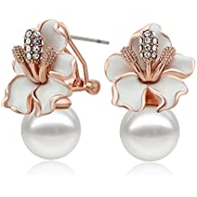Kemstone Rose Gold Plated Simulated Pearl Cubic Zirconia Clip-on Double Side Earrings rfMDBE