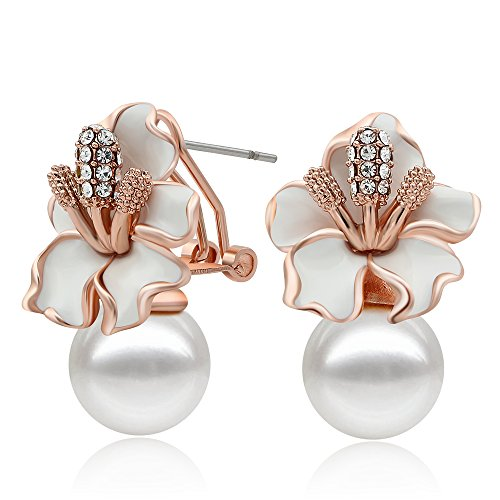 Kemstone Rose Gold/Silver Plated Pearls Flower Stud Earrings for Women