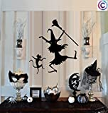 "DANCIN WITCH AND CAT ~ HALLOWEEN: WALL OR WINDOW DECAL, 12"" X 13"""