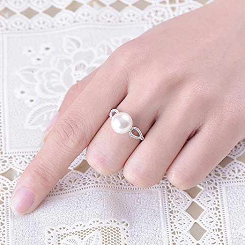 JO WISDOM 925 Sterling Silver Cubic Zirconia with 8mm Freshwater Pearls Rings for Women Girls