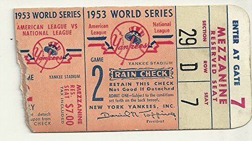 1953 World Series Game 2 Ticket Stub Yankees vs Dodgers 4-2 Yanks Mantle Homers (1953 Series Game World)
