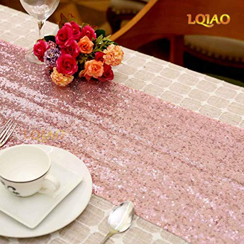 LQIAO Shimmer Pink Rose Gold Sequin Table Runner 12x72in-Elegant Rose Gold Pink Sequin Tablecloth Runner (Table Runner Pink Light Sequin)