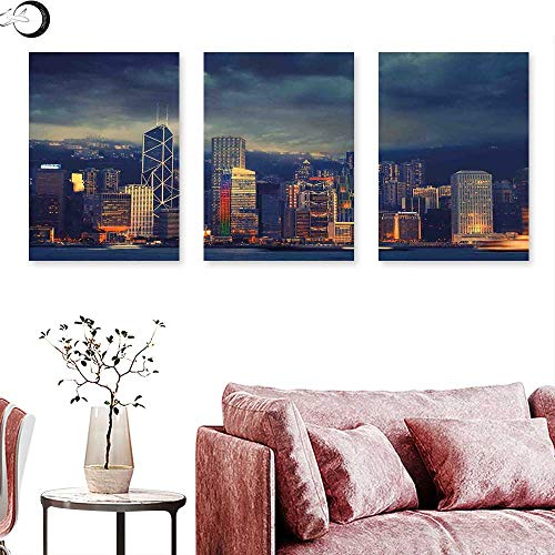Cityscape Wall Decoration Hong Kong Cityscape Stormy Weather Dark Cloudy Sky Waterfront Port Dramatic View Triptych Art Set Navy Gold Triptych Art Canvas W 12