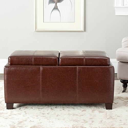 Safavieh Hudson Collection Gramercy Brown Leather Double Tray Ottoman