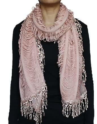 Seamaidmm fluffy Multi Shredded Jersey Long Scarf W/ Lace Beaded Fringe Pink