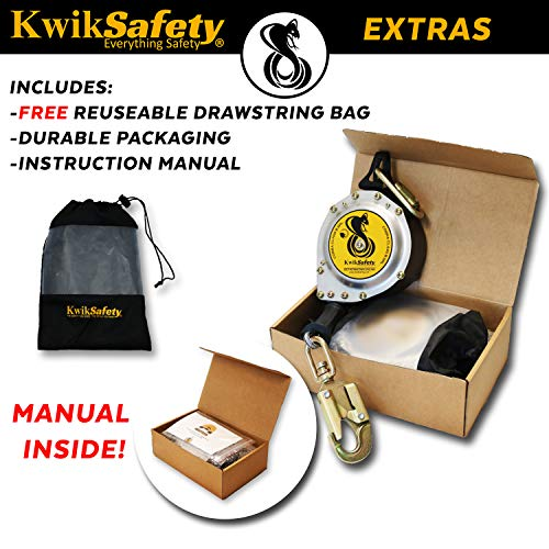 KwikSafety (Charlotte, NC) 20' COBRA Self Retracting Lifeline | Cable | ANSI Class B SRL w/Steel Carabiner Locking Clip Snap Hook | Roofing Construction Personal Fall Arrest Protection Safety Yoyo by KwikSafety (Image #3)