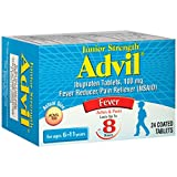 Advil Fever Reducer/Pain Reliever Coated Tablets Junior Strength - 24 Ct., Pack of 2