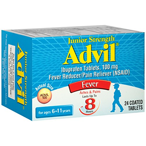 Advil Junior Strength Chewables (24 Tablets, Grape Flavor), 100mg Ibuprofen, Fever Reducer/Pain Reducer, Ages 2-11, (Pack of 2)
