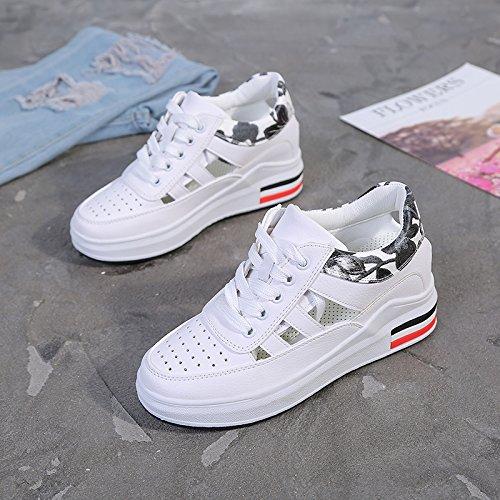 HBDLH Zapatos de mujer/Moda/El Verano De Las Mujeres Sandalias Vaciado Aumento De Interior Pequeños Zapatos Blancos Estudiante De Ocio Transpirable Zapatos. black