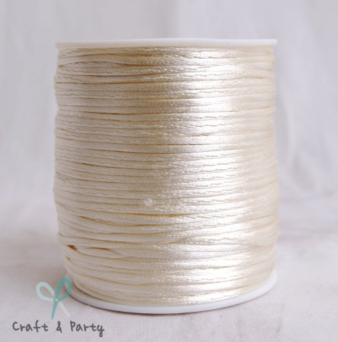 Craft And Party Ivory Rattail Satin Nylon Trim Cord Chinese Knot, 1.5 mm x 100 (Ivory Satin Trim)