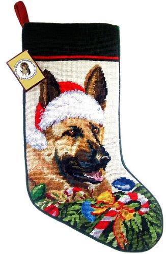 German Shepherd Dog Needlepoint Christmas Stocking