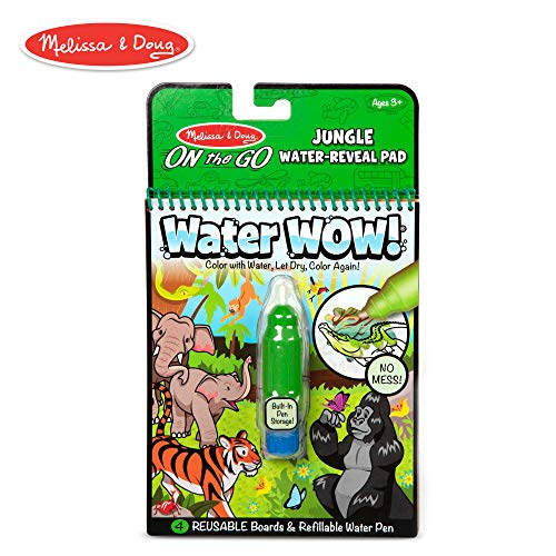 Melissa & Doug On The Go Water Wow! Jungle Activity Pad (Reusable Water-Reveal Coloring Book, Refillable Water Pen)]()