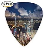 Newfood Ss Night View Hong Kong Victoria Harbor Business Financial District Cityscape Guitar Picks 12/Pack Set