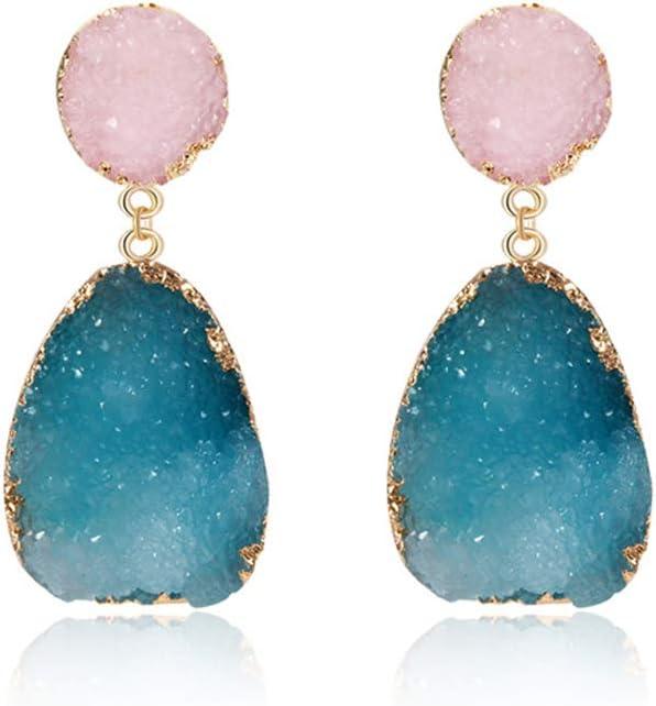 RG-FA - Pendientes de gota coloridos de piedra drusa de cuarzo natural con geoda de cristal 2