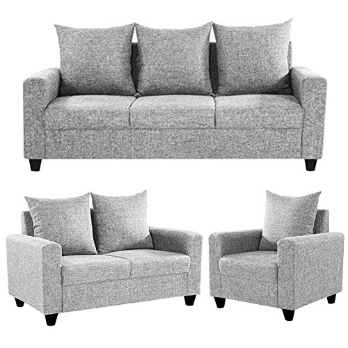Furny Juan 6 Seater Fabric 3+2+1 Seater Sofa Set  Light Grey