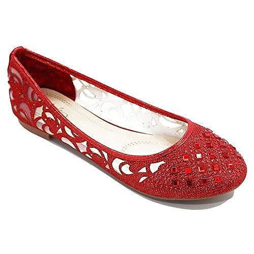 634316cb6 Walstar Glitter Mesh Ballet Flat Slip on Flat Shoes Rhinestone style  well-wreapped