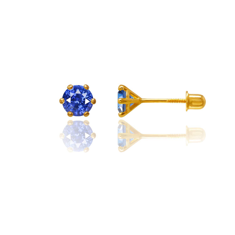 14kt Solid Gold Kids Stud Screwback Earrings Sapphire Stephanie Rockway GSE105SA