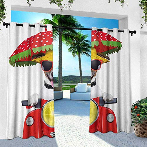 Hengshu Animal, Indoor/Outdoor Single Panel Print Window Curtain,Dog with a Hat and Sunglasses Driving Motorcycle Under an Umbrella Funny Holiday Image, W120 x L108 Inch, Red (Smith Sunglasses Slider)