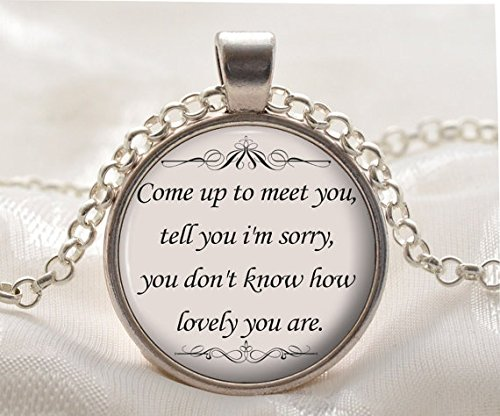 Quote Necklace-The Scientist Song Lyrics Quote-Romantic Music Pendant-Silver Cute Jewelry Gift for Women and -