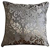 "Luxury Grey Euro Pillow Covers, 26""x26"" Euro Sham, Damask Euro Pillow Shams, Burnout Velvet Euro Pillow Shams, Floral Contemporary Euro Shams - Gray Silver Damask"