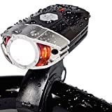"Sora® Luz Delantera de LEDs para Bicicleta "" Modelo Cyborg"" / [Tamaño Compacto: Medidas: 7 *4.3*2.5 cm] Lampara Frontal de LED Resistente al Agua para Bici. Linterna con Batería Recargable. Compatibilidad Universal. Medidas: 70*43*25mm, Tamaño compacto"