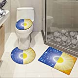 jwchijimwyc Space 3 Piece Extended bath mat set Split Design with Stars in the Sky and Sun Beams Solar Balance Nature Image Print Increase Blue Yellow