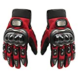 snowboard package boot - Carbon Fiber Motorcycle Motorbike Cycling Racing Full Finger Gloves Tonsiki (Red, M)