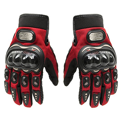 (Tonsiki Carbon Fiber Motorcycle Motorbike Cycling Racing Full Finger Gloves (Red, L))