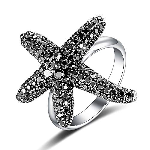Mytys Antiqued Fashion Flower Black Marcasite Crystal Band Cocktail Statement Rings for Women(7) ()