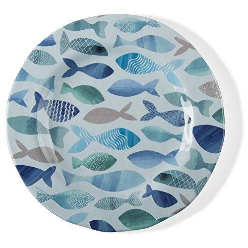 tag - Fish Melamine Salad Plate, Durable, BPA-Free and Great for Outdoor or Casual Meals, Blue (Set Of 4)