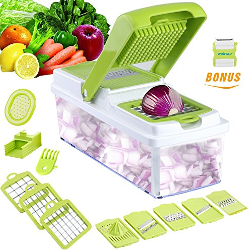Vegetable Slicer Dicer WEINAS Food Chopper Cuber Cutter, Cheese Grater Multi Blades for Onion Potato Tomato Fruit Extra Peeler (Easy Slicer)