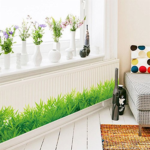 SOURBAN 3D Green Grass Skirting Wall Stickers Skirting Kids Living Home Decor Art for Bathroom Bedroom Decor