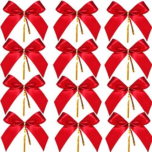 Sumind 48 Piezas de Lazo de Navidad Rojo Lazo de Cinta para Árbol de Navidad, Corona de Navidad, Decoración (4,25 x 3,75 Pulgadas)