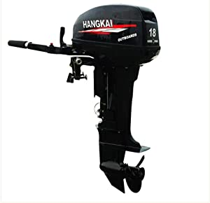 HANGKAI Outboard Motor 18HP 2 Stroke Boat Engine w/Water Cooled Tiller Control CDI System 246CC Heavy Duty Inflatable Fishing Boat Motor 40cm Short Shaft USA Stock