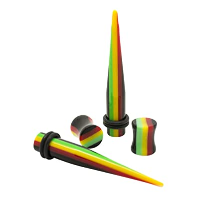 Blue Banana Body Piercing Dilatación Acrílico Rasta Plug & Stretcher Kit (Multicolor) - 4mm