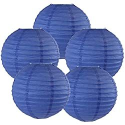 "Just Artifacts 8"" Royal Blue Chinese Japanese Paper Lanterns (Set of 5) - Click for more Chinese/Japanese Paper Lantern Colors & Sizes!"