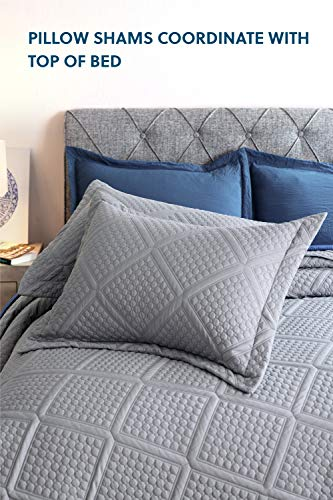 Bedsure Grey 3Piece Quilt Set  Geometric Pattern FullQueen Quilt 90x96 Inches with 2 Shams  Soft