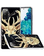 Miagon Luminous Effect Back Case Cover for Samsung Galaxy S20 FE,Noctilucent Glow in the Dark Green Soft Slim TPU Gel Flexible Bumper,Deer