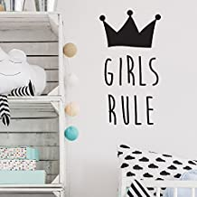 Kids Room Decor Wall Sticker Boys Rule/ Girl Rule Quote with Crown Patterned Decor Sticker Kids Room Girls Boys Bedroom Wall Decal Art Removable Vinyl Adesivo Mural SYY825 (girl rule, 57x30cm)