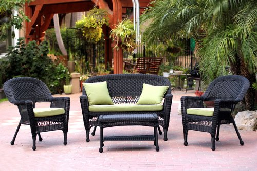 Jeco W00207-G-FS029 4 Piece Wicker Conversation Set with Green Cushions, Black Review