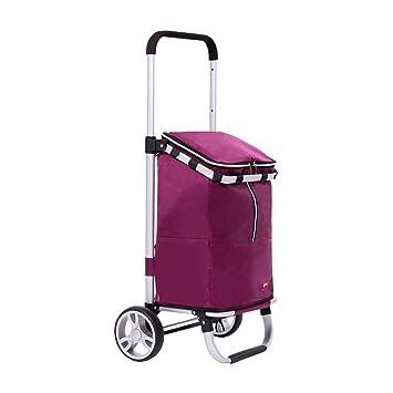 Carrito de compras Compra de Alimentos Soporte de aleación de Aluminio Barra de tracción Plegable Oxford Tela Altura Ajustable GW (Color : Purple): ...