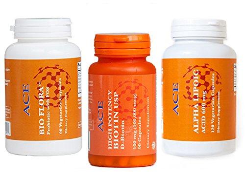 High-Potency Biotin, ALA (Alpha-Lipoic Acid), Bio Flora Probiotic - Convenience Pack