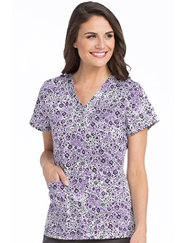 Med Couture Notch Neck Scrub Top Floral Wonders, XL (Cotton Print Scrub)