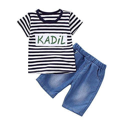 MOGOV Toddler Kid Baby Boys Summer Outfits Clothes Stripe Letter Print T-Shirt Tops+Shorts Pants Set Navy